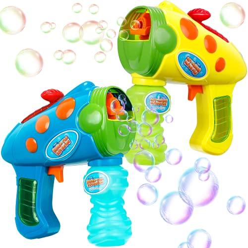 Theefun 2 Pezzi Pistola a Bolle, Macchina Sparabolle 2 in 1 con 2 Bottiglie di Soluzione per Bolle Giocattoli Bubble Maker per Bambini
