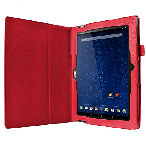 eFabrik Hülle für Acer Iconia Tab 10 A3-A30 Tasche Schutz Case Cover Schutzhülle Schutztasche Etui Leder-Optik rot