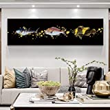 N / A Abstract Goldfish Painting Animal Art Picture Wall Canvas For Living Room Bedroom Poster Home Decoration Frameless 60x220cm