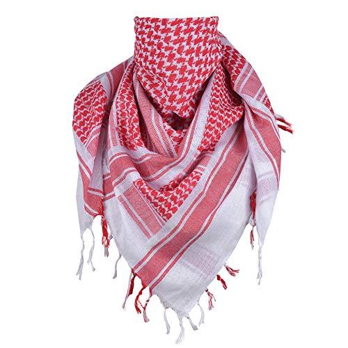 ExTWISTim Shemagh Schal Keffiyeh Arab Wrap Army Military Tactical Wüstenhals 100% Baumwolle Herrenschleier Kopf Kariertes Unisex-Kopftuch (White/Red)