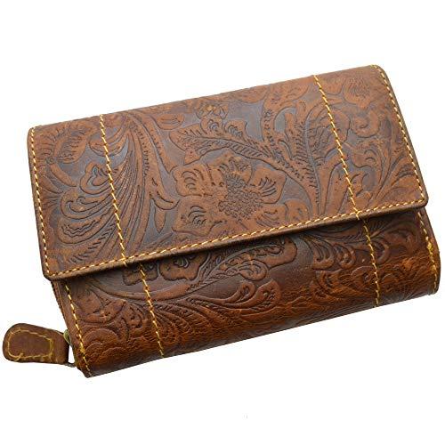 Portemonnaie Damen Wild Leder Geldbeutel in 6 Farben RFID