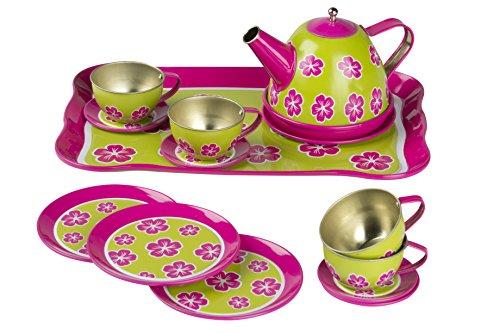 Eddy Toys 871125292445 - Tee-Set / Teeservice / Tee Spielset / aus Metall - 14 Stück,