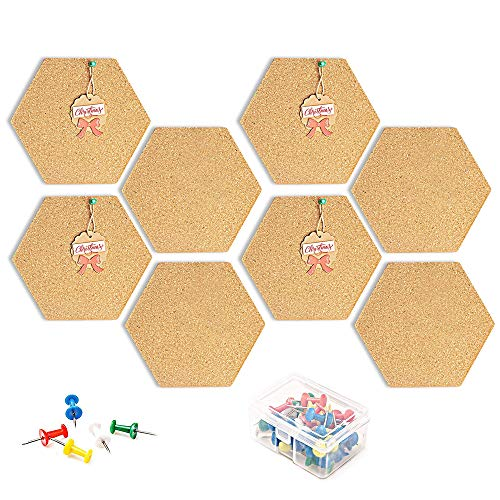 Tableros de Corcho Hexagonales con Alfileres, 8 PC Autoadhesivas para Anuncios de Bricolaje Tablero de Anuncios de pared Tablero de Anuncios para fotos, Decoración del hogar, oficina, boletín de fotos