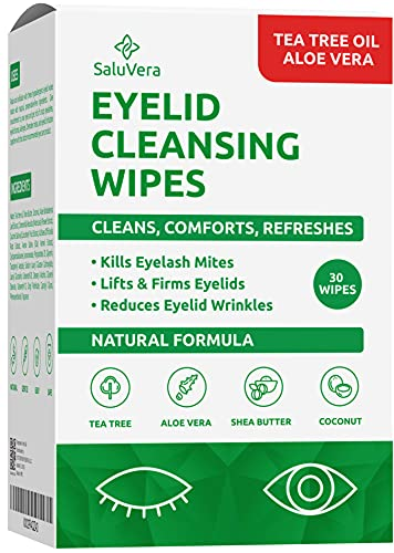 SaluVera Eyelid Wipes with Tea Tree Oil and Aloe Vera | Eye Cleansing Wipes for Dry and Itchy Eyes Relief | Natural Ingredients Eyelid Scrub for Daily Usage - Pack of 30