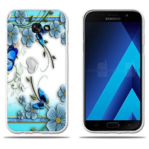 fubaoda Funda Samsung Galaxy A7 2017 Hermoso Dibujo en Relieve de Mariposas, Flexible Funda Protectora Anti-Golpes para Samsung Galaxy A7 2017