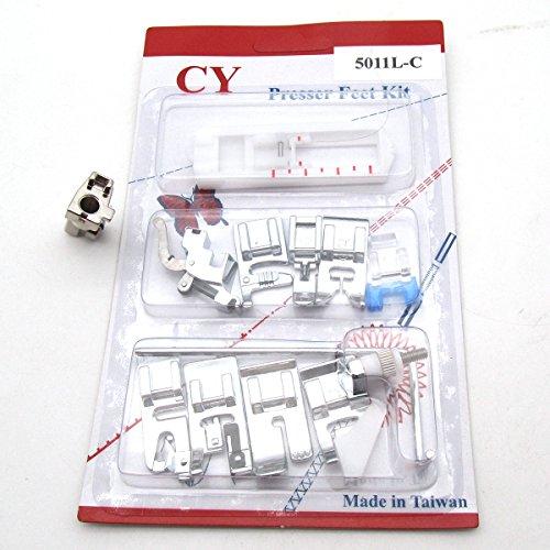 CKPSMS Marca - #5011L-C +Adaptor 0083687000 11 piezas pies prensatelas ADJUNTOS AJUSTADOS Compatible con BERNINA Activa Artista Aurora Virtuosa Máquinas