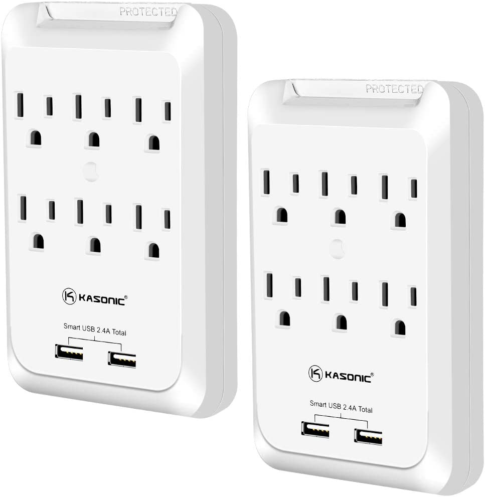 Kasonic Outlet Extender, 6-Outlet Wall Mount Surge Protector, 900 Joules Plug Power Strip with 2 USB 2.4A, Protection Indicator LED Light, Space Saving Design, ETL Certified(2 Pack)