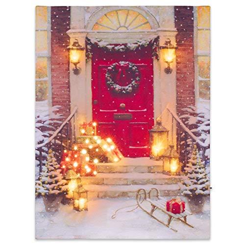 Nexos LED Wandbild Leinwandbild mit Beleuchtung 30x40 cm Weihnachtstag Fotodruck Kunstdruck Leuchtbild Weihnachten Batterie Winteridylle Effekt-LED Laternen