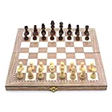 dsidols EVERGD 3 in 1 Classic Folding Wooden Chess Set Chess Board Game and Draughts Set 30cm x 30cm (11.8 Inch)