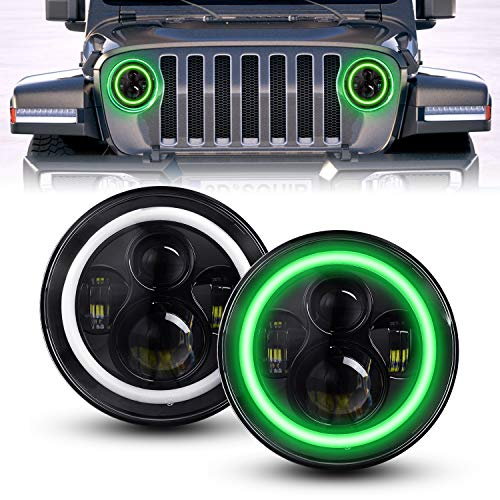 DOT Approved 7 Inch Round LED Headlight High Low Beam Compatible with Jeep Wrangler 97-2017 JK TJ LJ JKU Rubicon Sahara Hummer H1 H2, 2 PCS (Green Halo)