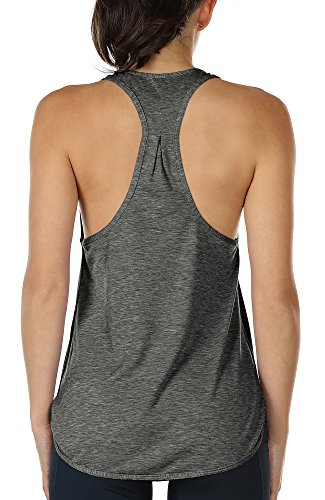 icyzone Yoga Sport Tank Top Damen Racerback Lauftop Fitness Running Shirt Oberteile(XS, Charcoal)