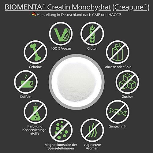 Biomenta® 1000g reines Creatin Monohydrat Pulver | Hochwertiges geschmacksneutrales Creapure® Creatine / Kreatin | Optimiert mit Vitamin B6 (Pyridoxin), B9 (Folsäure) und B12 (Methylcobalamin) | Hergestellt in Deutschland | Unterstützt beim Kraftsport & Bodybuilding - 4