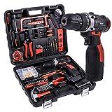 Werkzeug Koffer Set SUPSOO 60 Stücke Haushalts Elektrowerkzeuge Bohrer Set mit 16,8 V Lithium Schnurlose Bohrer Klaue Hammer Schraubenschlüssel Zangen
