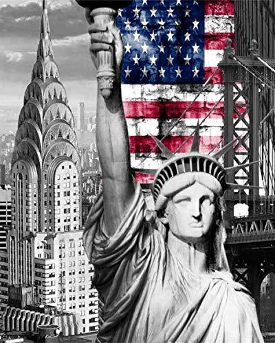 Pintar por Numeros para Adultos NiñOs Estatua de la libertad, nueva york 40x50cm Fácil de Operar Principiantes Dibujados A Mano Dormitorio SalóN Decoracion Juguetes de pintura -Sin marco
