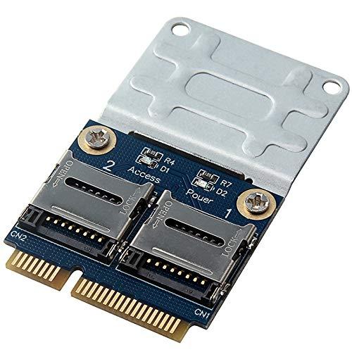 Cobeky 2 SSD HDD para portátil Dual - SDHC SDXC TF a PCIe lector de tarjetas de memoria MPCIe a 2 -Sdcards Pci-E