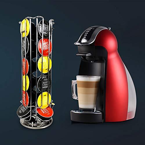 Estante de almacenamiento de cápsulas de café, 360 giratorio, 24 cápsulas, dispensador de soporte para cápsulas de café, cápsulas de café, torre dispensadora, soporte de hierro, torre giratoria