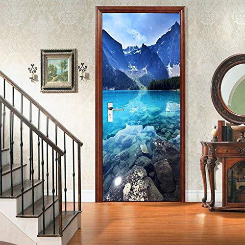 Papel Pintado De Puertas 3D Paisaje De Lago De Montaña Autoadhesivo Impermeable Vinilos Puertas Pegatinas Para Decorativos Para La Puertas Interior Del Dormitorio Murales 95 X 215CM