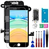 for iPhone 8 Screen Replacement Black Kit, CYKJGS 4.7' Full Assembly LCD Display Digitizer with Front Camera Ear Speaker Sensors, Waterproof Seal Repair Tools Screen Protector for A1863, A1905, A1906