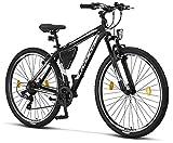 Licorne - Mountain bike Premium per bambini, bambine, uomini e donne, con cambio Shimano a 21 marce, Bambina, nero/bianco (freno a V)., 29 inches