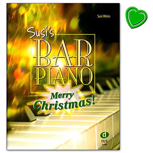 Susis Bar Piano Merry Christmas - 20 kerstliedjes in middelzware, jazse bewerking - notenboek met kleurrijke hartvormige notenklem - Edition DUX 9783934958944