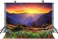 HD美しい自然山写真背景写真小道具10x7FT日の出風景背景R617