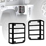 Xprite Black Light Guard For Rear Taillights (Tail Light) Cover for 2007-2018 Jeep Wrangler JK Unlimited - Pair