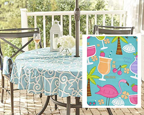 Newbridge Happy Hour Whimsy Vinyl Flannel Backed Tablecloth, Kitschy Flamingo and Tropical Cocktail Print Waterproof Patio, BBQ, Indoor Outdoor Tablecloth, 70 Inch Zippered Umbrella Round