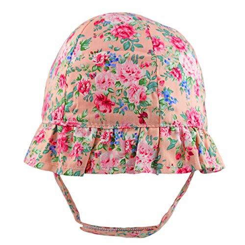 Pesci Baby-Mädchen Mütze für Sommer mit Kinnriemen und Rüschenkrempe Sonnenhut Floraler, Neugeborene, Rosa