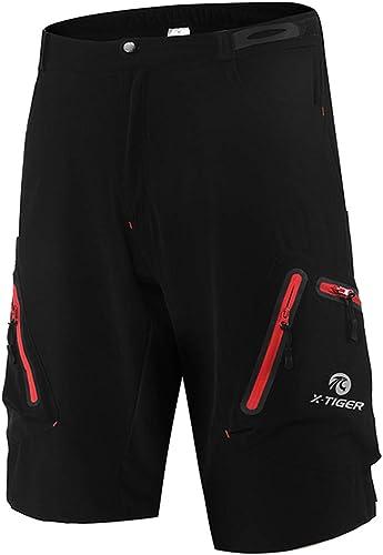 X-TIGER Shorts de Cyclisme VTT pour Homme Short de Sport Extérieur Loisirs Non Rembourré Shorts de Baggy Légers Ample...