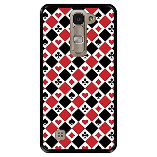 Funda Negra para [ LG G4 Mini - G4c - Magna ] diseño [ Patrón de Naipes ] Carcasa Silicona Flexible TPU