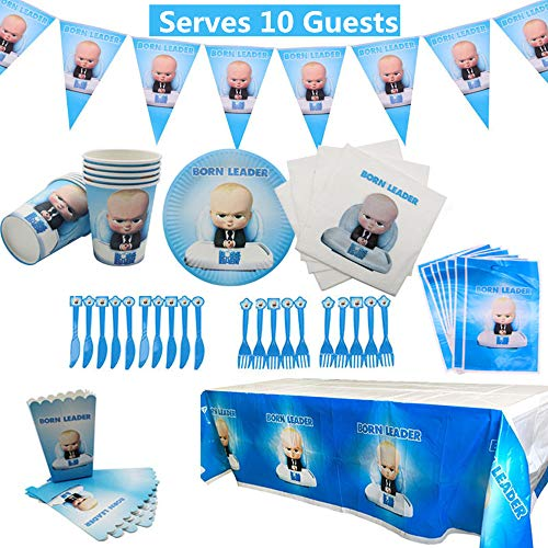 Boss Baby Party Supplies Set 78 Pack Birthday Party Decorations Includes Disposable Tableware Kit, Gift Bag,Banner and Napkins Packs- Serves 10 Guests