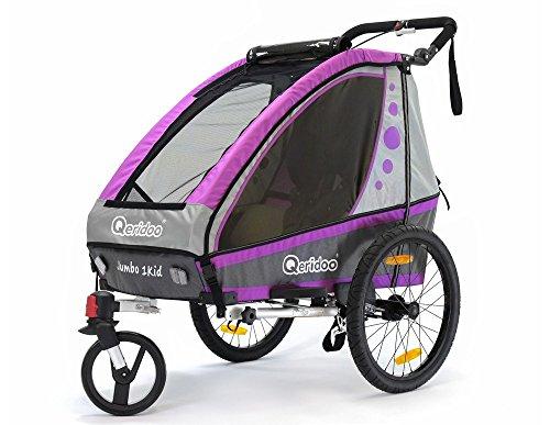 Qeridoo bicicleta infantil colgante Jumbo1 color aluminio como remolque de bicicleta de paseo