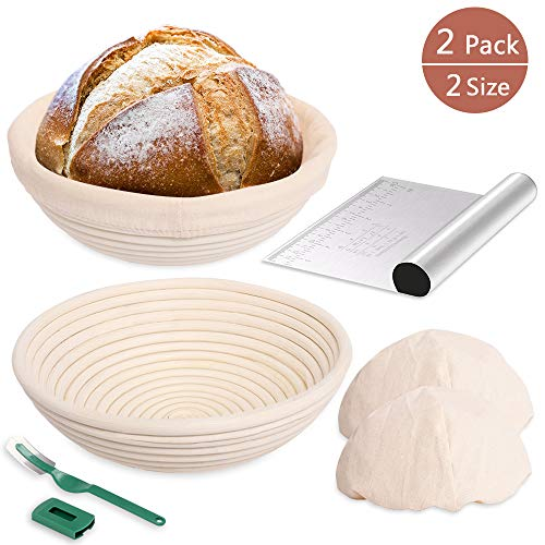 2 Set 9 Inch and 10 Inch Bread Proofing Basket Proofing Baskets  Dough Scraper  Bread Lame  Linen Liner Cloth for Home Bakers Making Bread