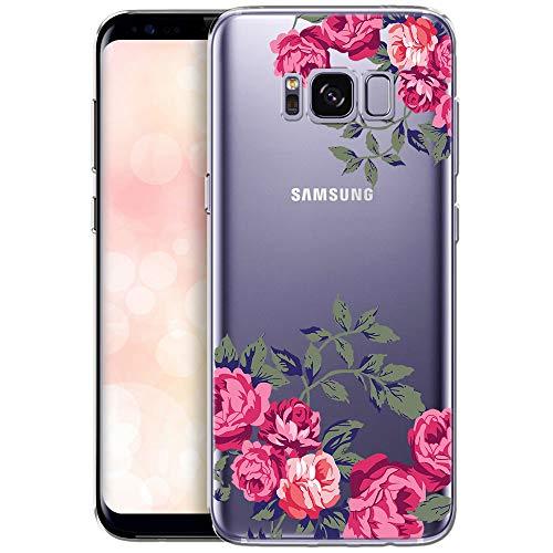 QULT Carcasa para Móvil Compatible con Funda Samsung Galaxy S8 Plus Transparente con Dibujo Silicona Suave Bumper Teléfono Caso para Samsung S8 Plus Flores Rosas delicadas