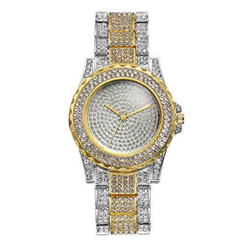 Lancardo Orologio da Polso al Quarzo da Uomo Donna, Semplice ed Elegante, con Quadrante Rotondo Pieno di Diamanti e Cinturino Pieno di Diamanti Colore