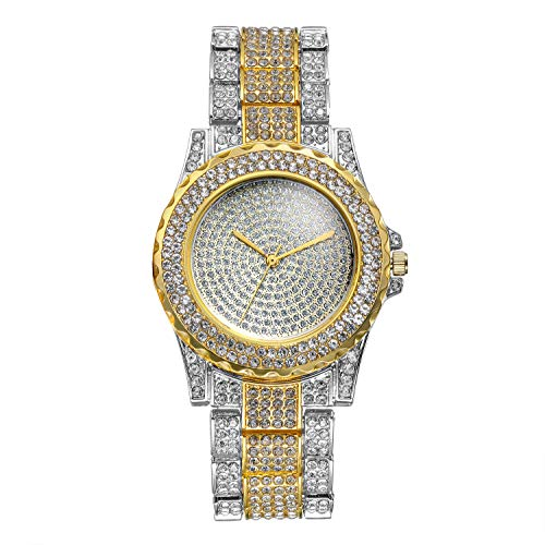 Lancardo Orologio da Polso al Quarzo da Uomo Donna, Semplice ed Elegante, con Quadrante Rotondo Pieno di Diamanti e Cinturino Pieno di Diamanti Colore da Scelta Oro Argento
