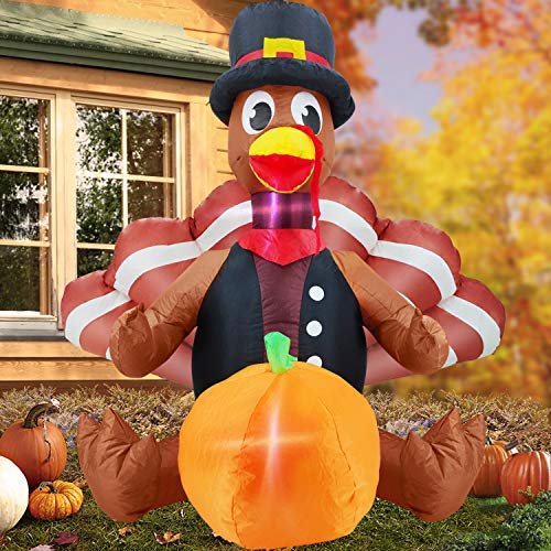 TURNMEON 4ft Inflatable Turkey Pumpkin Thanksgiving Inflatable Outdoor Yard Decorations Blow up Feather Turkey LED Lights with Tethers Stakes, Thanksgiving Fall Decorations for Home Outdoor Garden