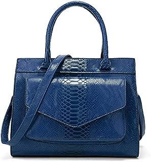 Leather New Women's Handbag Snake Pattern Handbag Big Fashion Lady Wallet Simple Atmosphere Shoulder Wallet Fashion Wild Wallet Waterproof (Color : Blue, Size : M)