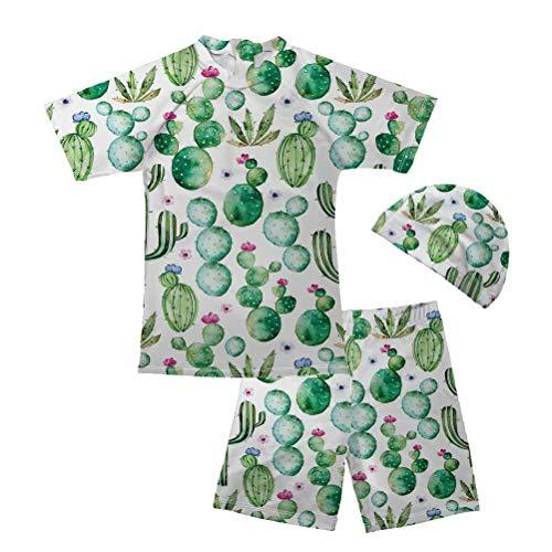 Chaqlin - Traje de baño para niños tankini de manga corta con parte superior de tiburón + pantalones cortos + sombrero, 3 piezas de traje de baño de verano para natación de 5 a 14 años de edad Verde Cactus 9-10 Años