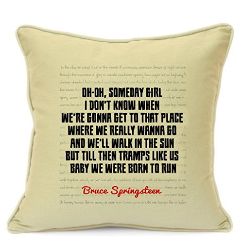Bruce Springsteen Song Lyrics Quotes Cotton Pillow Cushion Cover for Sofa 18 inch 45 cm Romantic Love Presents Gifts For Him Her Girlfriend Boyfriend Valentines Day Gift Home Decor