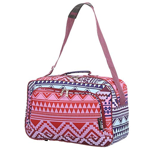 16 Inch Carry On Hand Luggage Flight Duffle Bag, 2nd Bag or Underseat, 19L (Multi Aztec)