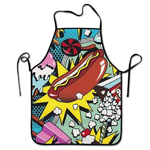 Mesllings Verstelbare Keuken Chef Apron-Hot Hond IJs, Commerciële Mannen & Vrouwen Bib Schort voor Koken, Bakken, Crafting, Tuinieren, BBQ