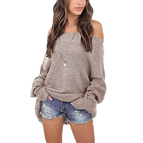BCOFUI Jersey de manga larga para mujer, de gran tamaño, con hombros descubiertos, de ajuste holgado