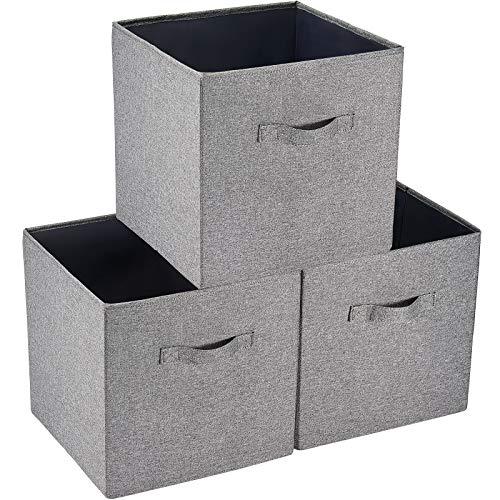 SimpleHome 3 grå förvaringslådor av säckväv som passar exakt till Kallax-hyllor, 33 x 37 x 33 cm