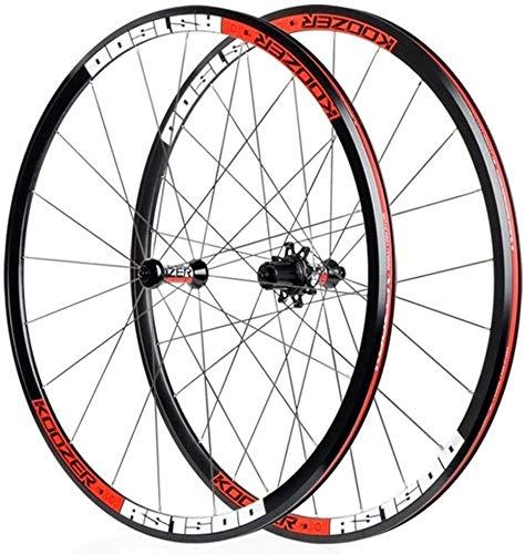 MGE 700C Road Bike Wheelset Aluminum Alloy Rim Sealed Bearing 30mm Bicycle Wheels V- Brake 8 9 10 11 Speed Bike Wheel (Color : Red)