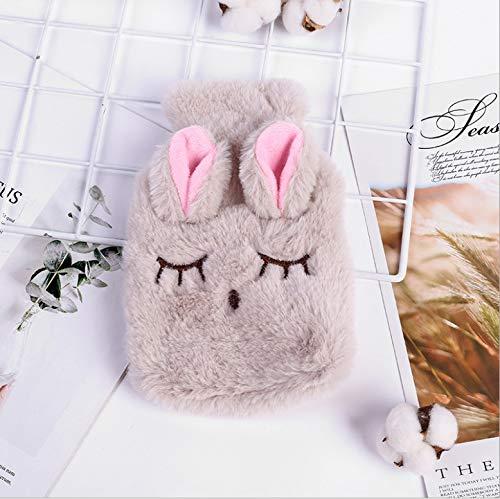 LIZONGFQ Winter-warme Karikatur-Kaninchen-PVC Wärmflasche, gestrickte weicher Plüsch schielte Kaninchen-Handwärmer, abnehmbar und waschbar Wasser-Einspritzung Wärmflasche Handwärmer,A
