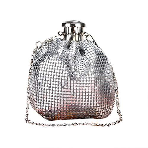 Umhängetasche Damen Clutch Frauen Modell Handgemachte Mini-Flachmann Taschen Clutch Schulter Aluminium Dame Süße Tasche Weinflasche Geldbörse Taschen Silber