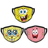 3PCS Spongebob Mouth Mask Style Soft Face Cover Washable Reusable Fashion Dust Face Mask Outdoors UV Protection Adjustable