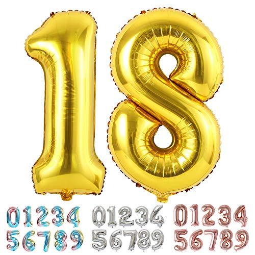 Ponmoo Foil Globo Número 18 81 Dorado, Gigante Numeros 0 1 2 3 4 5 6 7 8 9 10-19 20-29 30 40 50 60 70 80 90 100, Grande Globos para La Boda Aniversario, Globo de Cumpleaños Fiesta Decoración