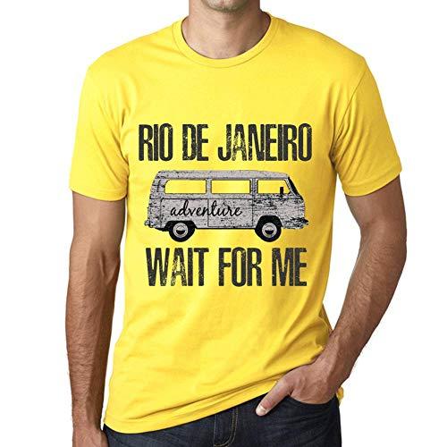 One in the City Hombre Camiseta Vintage T-Shirt Gráfico Rio DE Janeiro Wait For Me Amarillo
